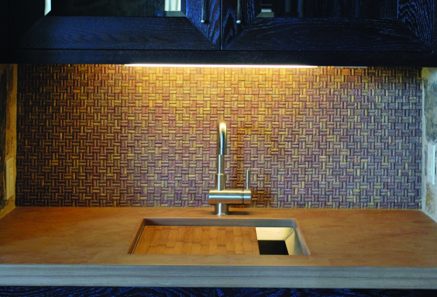 Cork tile backsplash
