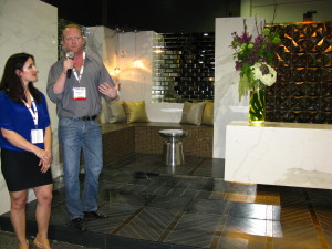 Designers Foreman Rogers and Allison Isaacs from tvsdesign Atlanta take showgoers on a tour of their vignette at Coverings 2013