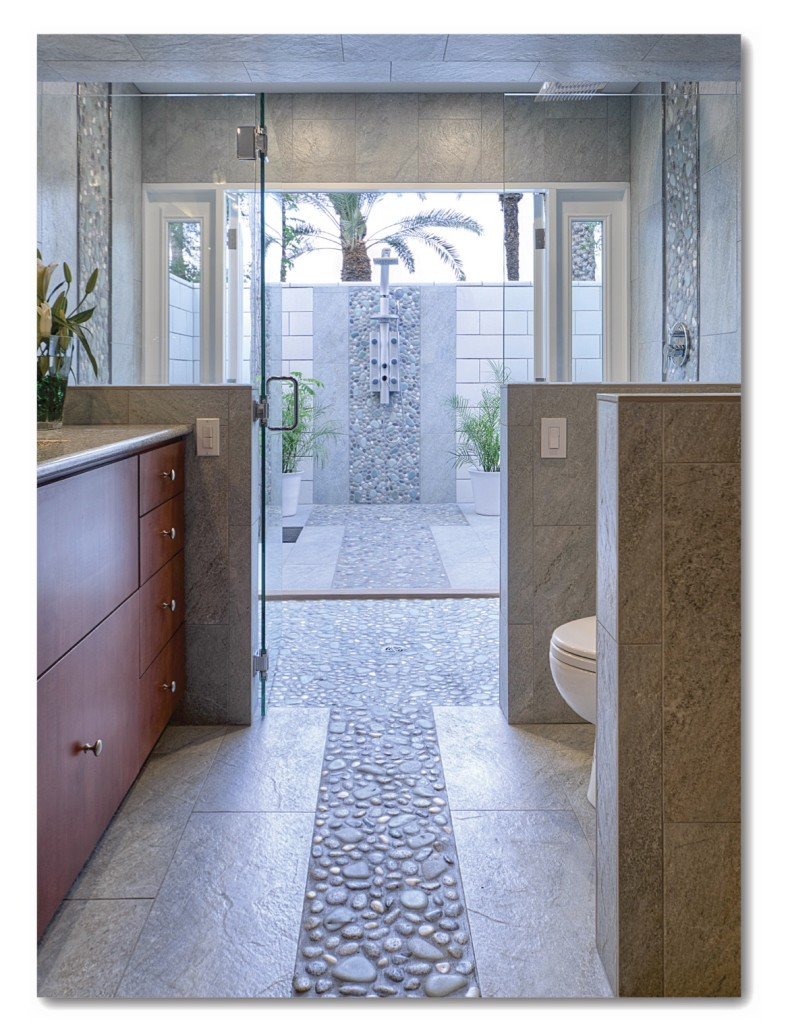 Shower drain furthermore stone look wall tile additionally modern -  I Was Looking For A Design That Would Make My Clients Feel As If They Were Bathing Amongst A Beautiful River Pebble Bed Selles Said