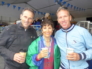 John D'Agostino (l.) former trainer for the MAPEI cycling team with wife Andrea and MAPEI's Steve Griffith.