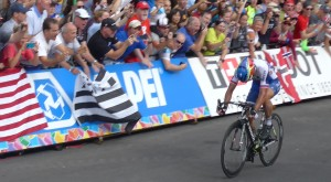 Peter Sagan of Slovakia wins the Men's Elite race, earning the coveted rainbow jersey and a gold medal.