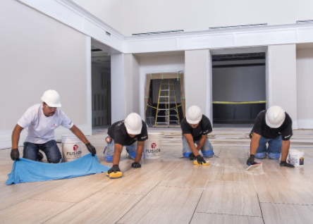 CUSTOM's Fusion Pro® grout was selected for the project based on its stain resistance and ease of installation compared to typical epoxies. A 3- or 4-person team installed the grout quickly with each person performing a different task from spreading to cleaning.
