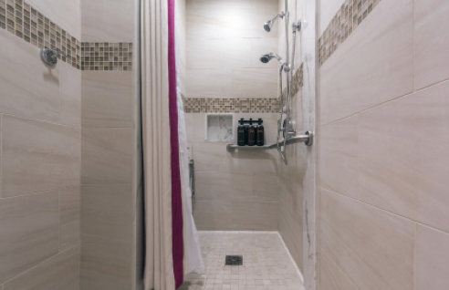 Tile and Marble Works grouted the showers in the women's spa and other areas with CUSTOM's Fusion Pro® Single Component Grout® delivering unsurpassed stain resistance and antimicrobial protection for the end user.