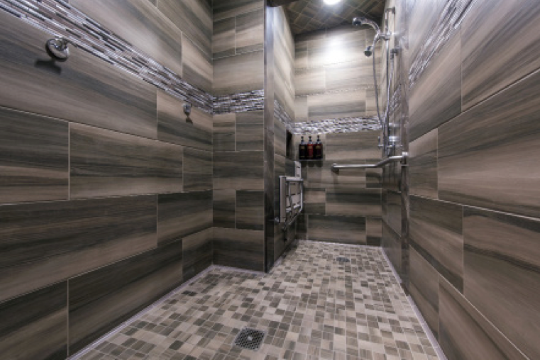 All showers were waterproofed with CUSTOM's RedGard® Waterproofing and Crack Prevention Membrane. RedGard can be used as a shower pan liner and is approved for use in steam showers.
