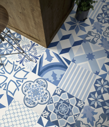 Aparici's Blue Natural uses traditional motifs in delicate colors.