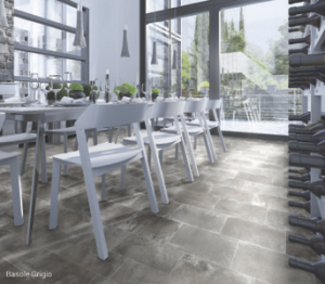Concrete-look Basole from Interceramic is an example of a high-density ceramic that has comparable performance characteristics as porcelain: freeze/thaw resistant, suitable for exterior use, stain and thermal shock resistance, chemical and crazing resistant and suitable for commercial application.