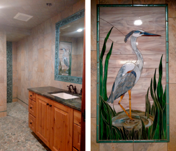 In another area of the home, an $80,000 bathroom features a heron mural of stained glass that Lamoreaux installed with Ardex 77.