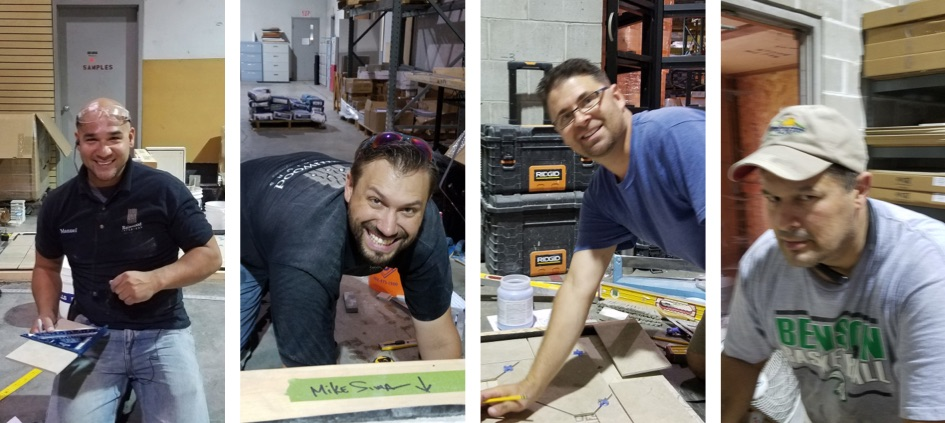 Manuel Eagan, and Kelly Krueger of Rainwood Interiors (owner); Brian Annoye, Jurassic Tile & Stone, Craig Harimon, Craig Harimon Tile Setters, all took the CTI test at Sunderland Brothers Company in Omaha, Neb., in August.