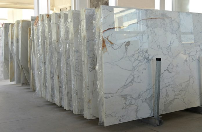 stack of marble slab - marble industry factory