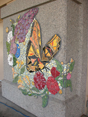close up of tile butterfly in mural