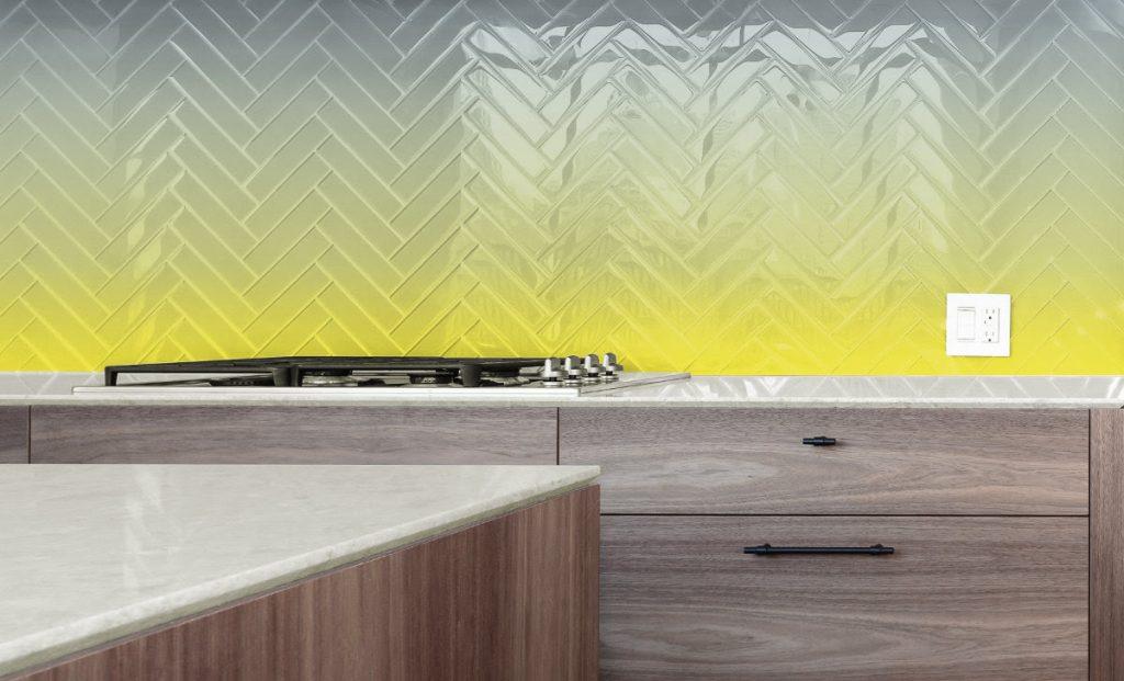 yellow and grey ombre gradient herringbone