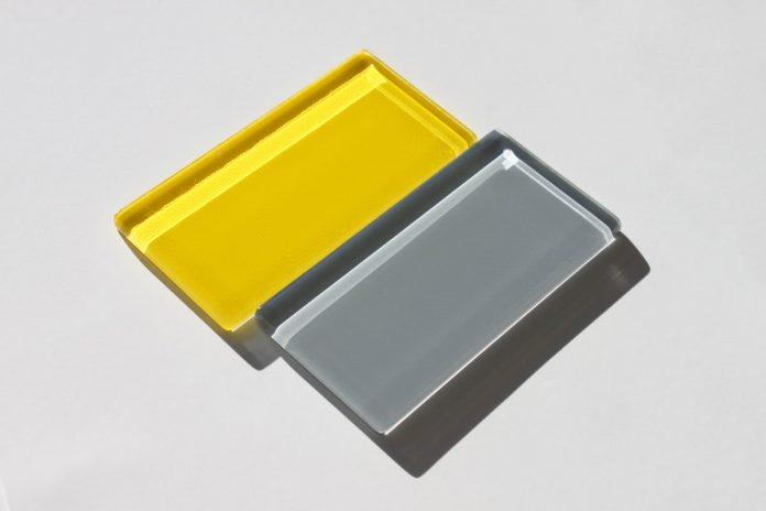 acid yellow and grey glass tiles