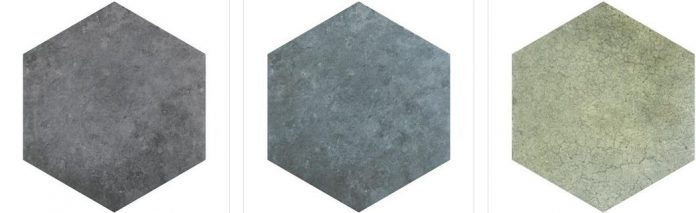three colors of stone look hex porcelain tiles