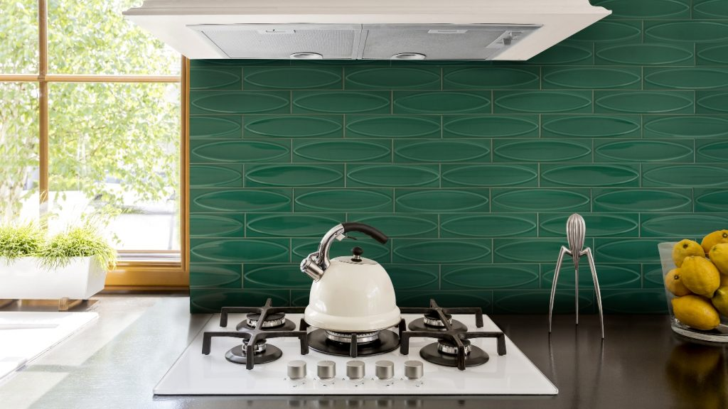 green sculptured wall tile